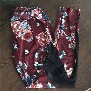Floral and mesh leggings